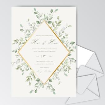 Элегантные свадебные приглашения шаблон с акварельными листьями