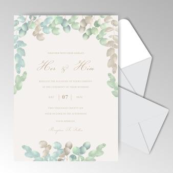 Элегантная акварель свадебные приглашения шаблон с красивым эвкалиптом