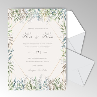 Красивая акварель свадебные приглашения шаблон с элегантными листьями