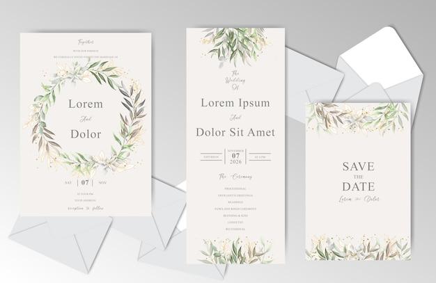 美しい葉を持つエレガントな水彩結婚式招待状カードのテンプレート