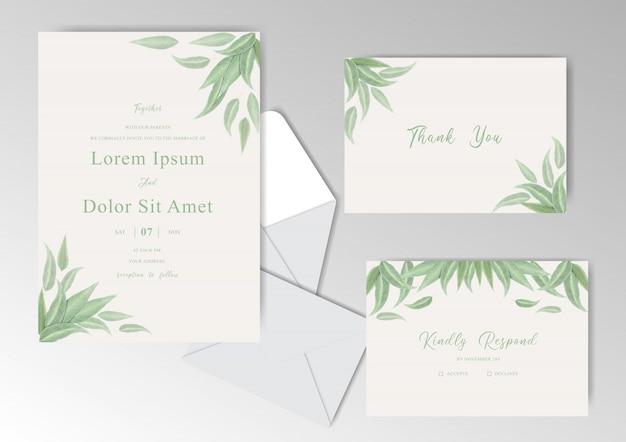 葉を持つエレガントな手描きの結婚式の招待カード
