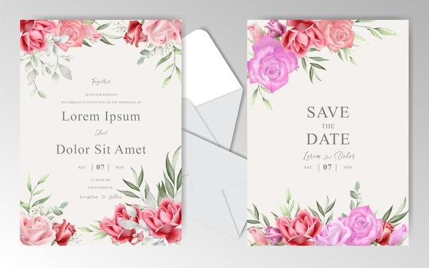 美しいバラでロマンチックな水彩画の結婚式の静止