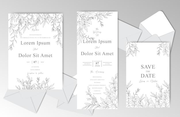 美しい葉を持つエレガントな手描きの結婚式の招待カードテンプレート