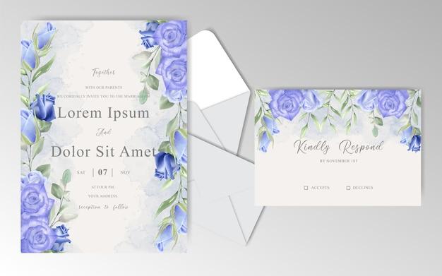 ネイビーブルーのバラと葉の水彩画の花の結婚式の招待カード