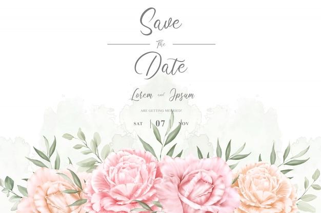 水彩画背景を持つエレガントな結婚式フレームマルチ目的デザイン