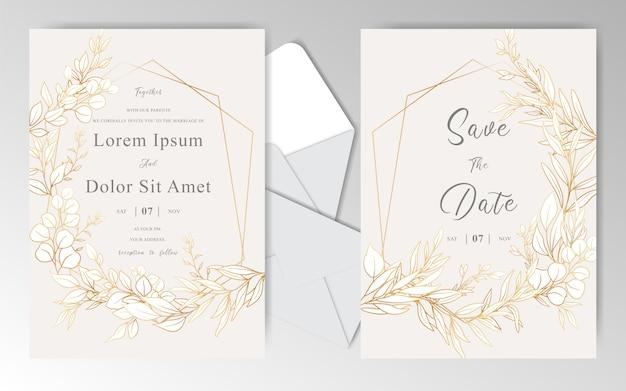 Золотые цветочные свадебные приглашения дизайн шаблона карты