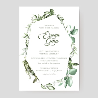 花の結婚式の招待状カードのテンプレート