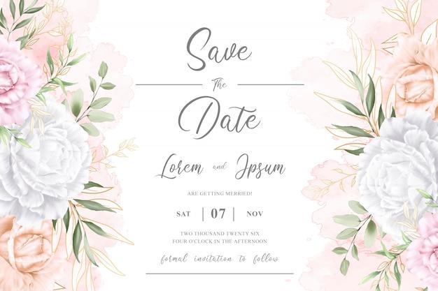 編集可能な水彩花の結婚式の招待カードテンプレート