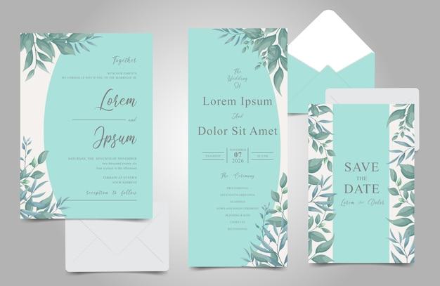 エレガントな紅葉トスカフレームの結婚式の招待カードセット