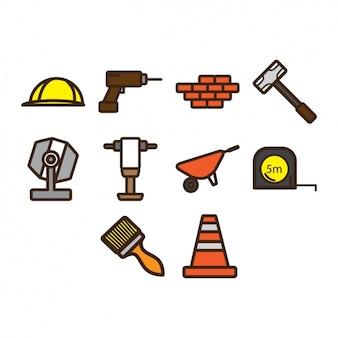 Коллекция иконок на строительной