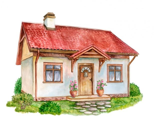家、芝生のあるコテージ