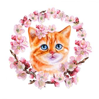 Рыжий котенок в цветущем венке, орнамент
