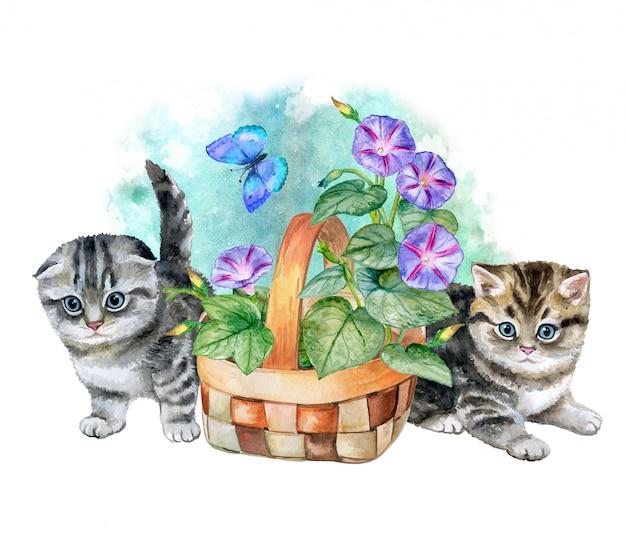 子猫とフラワーバスケット。水彩。図