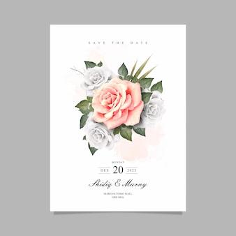 エレガントな花の水彩画と日付カードを保存