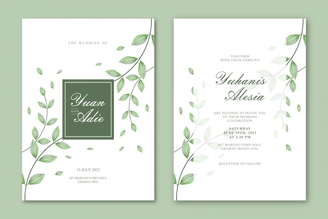 美しい葉を持つ結婚式カードテンプレート