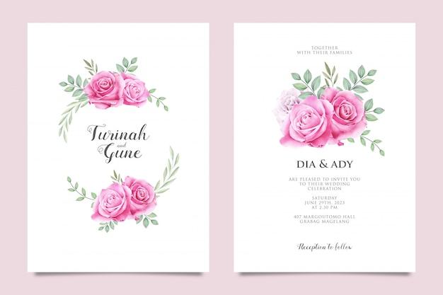 ピンクのバラと結婚式の招待カード