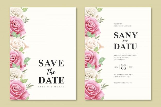 Красивые цветочные свадебные приглашения дизайн шаблона
