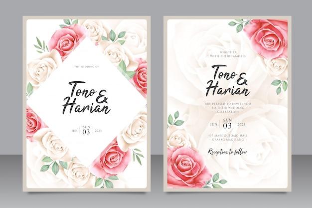 美しいバラの花を持つ美しい結婚式の招待カードテンプレート