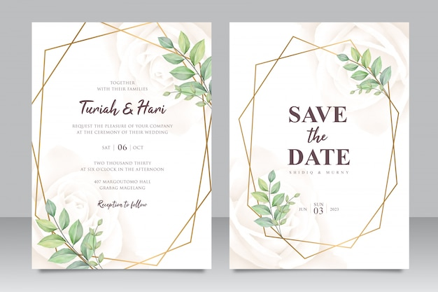 美しい葉の水彩画と幾何学的な結婚式の招待カードテンプレート