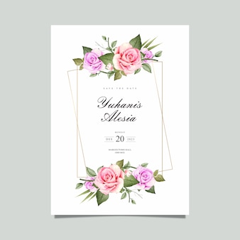 花のフレームの水彩画のウェディングカード