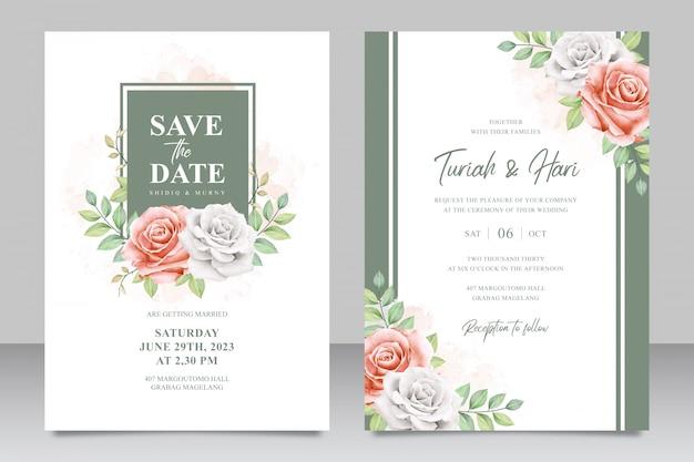 Цветочная рамка многоцелевой свадебные приглашения установить шаблон