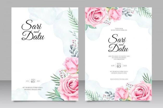 Цветочные свадебные приглашения установить шаблон акварель