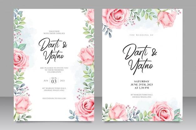 花の結婚式招待状セットテンプレート水彩画