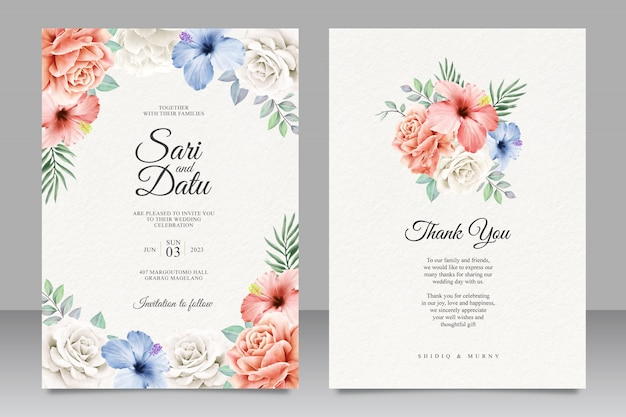 Красочный цветочный дизайн свадебного приглашения