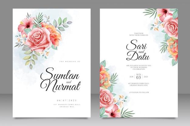 花の花束結婚式招待状カードのテンプレート