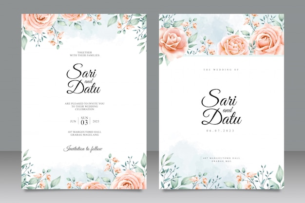 美しい花柄のデザインの結婚式の招待カードテンプレート