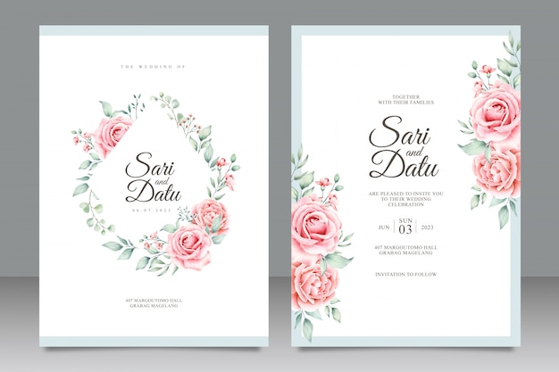 Шаблон свадебного приглашения с красивой цветочной акварелью