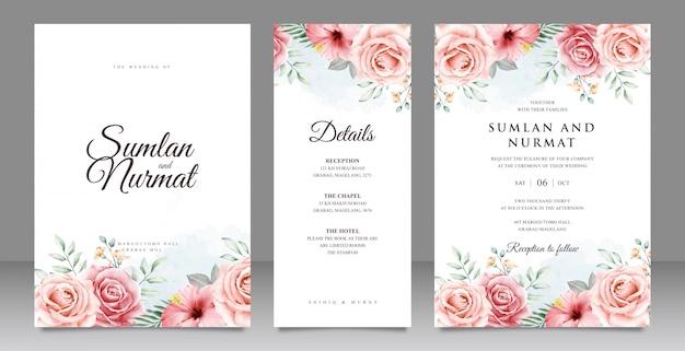 美しい花の庭の結婚式の招待カードセットテンプレート