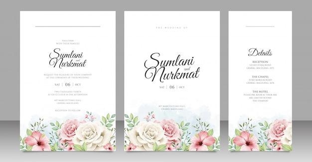 花の庭の結婚式の招待カードのデザイン