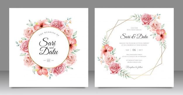 美しい花柄のゴールデンフレーム結婚式招待状