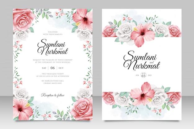 花と葉のアクアレルと結婚式の招待カード