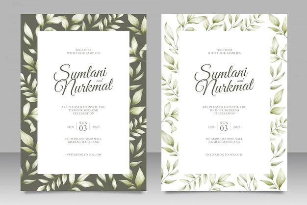 Свадебная пригласительная открытка с листьями акварель