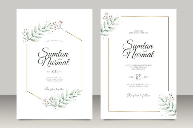 モダンな葉の水彩入り結婚式招待状