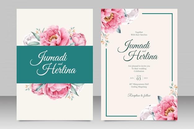 牡丹とエレガントな結婚式の招待カードテンプレート