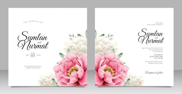 ロマンチックな牡丹の結婚式の招待状のテンプレート