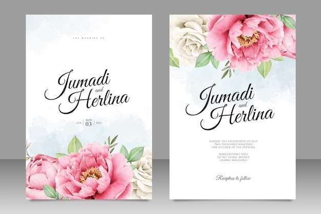 Красивая свадебная открытка из пиона с акварелью