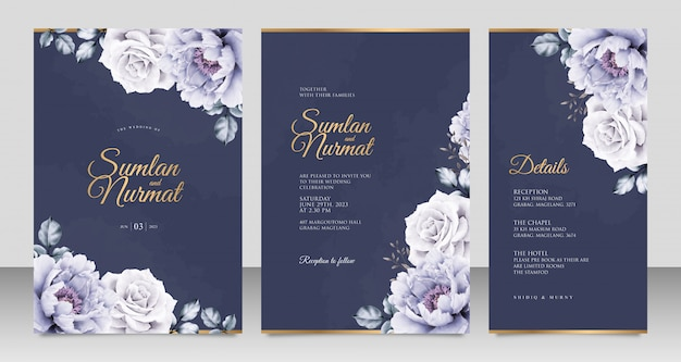 ネイビーブルーの背景に牡丹アクアレルとエレガントな結婚式の招待カードテンプレート