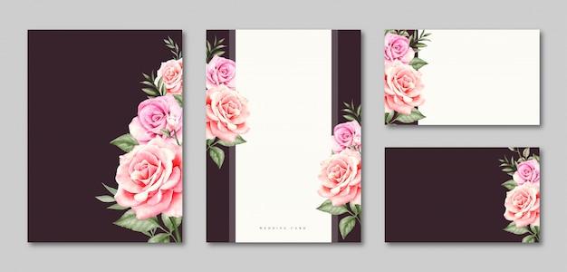 空白のテンプレートのウェディングカードの招待状セットデザイン