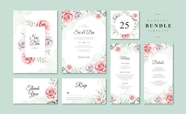 Красивые акварельные цветочные свадебные приглашения