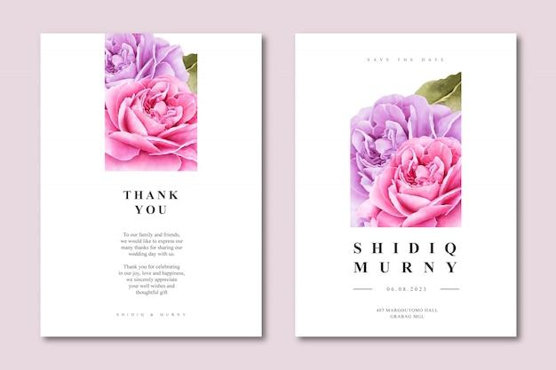 広場に花柄のエレガントなウェディングカード