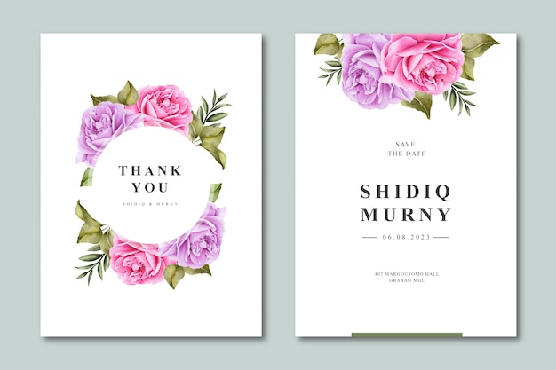 Элегантный свадебный шаблон приглашения с цветочной акварелью