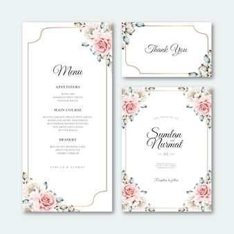 Красивая свадебная открытка с цветочной рамкой акварелью