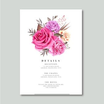 詳細カードテンプレート水彩画とバラの花束