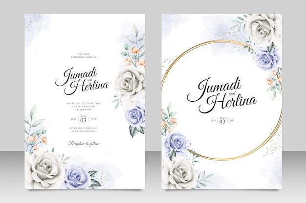 Элегантный шаблон свадебной открытки с красивой цветочной акварелью