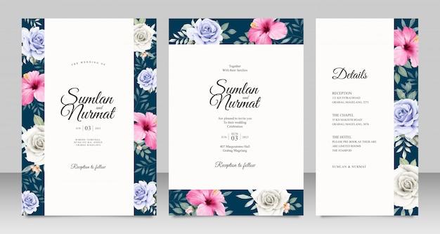 美しい花のアクアレルとウェディングカードセットテンプレート