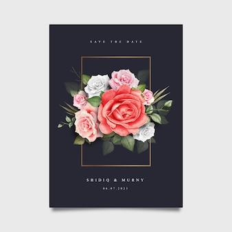 花の水彩画とエレガントなウェディングカード